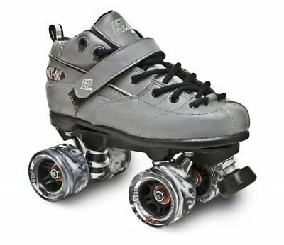 - New! Gray GT-50 Quad Roller Speed Skates w/ Black Swirl Wheels