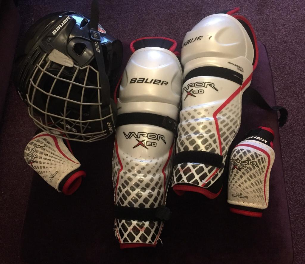 Bauer Ice/Roller Hockey Helmet, Shin Guards & Elbow Pads