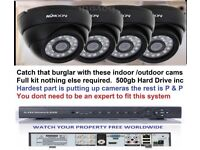 CCTV SYSTEM H264 4CH DVR + 4 KK MOON DOME CAMERA ALL U NEED TO VIEW ON INTERNET INCLUDING HARD DRIVE