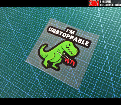 I Am Unstoppable T-Rex Dinosaur JDM Car Reflective Decal Sticker #01 Green for sale  Shipping to United States