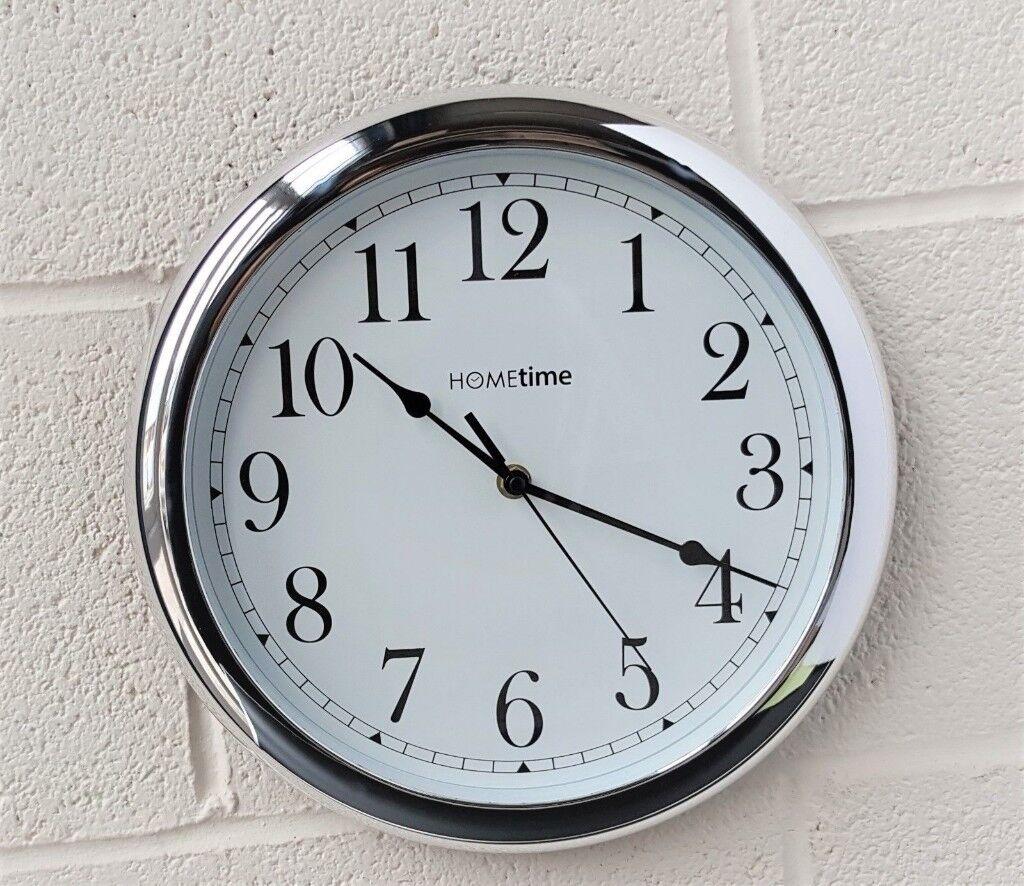 Hometime High Gloss Chrome Coloured Wall Clock Brand New In Box In