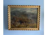 Antique oil painting of a Croft in the highlands. Indistinctly signed in a gold frame