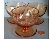 vintage amber glass dessert bowls