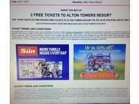 2 X Alton Towers tickets for Friday 7th July 17