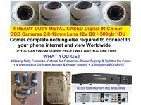 FULL CCTV SYSTEM METAL CAMERAS HEAVY DUTY EVERYTHING YOU NEED TO SEE WORLDWIDE INCUDES 500gb HDD