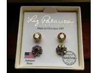 Liz Palacios Crystal Stud Earrings Antiqued Brass /EARRINGS*NEW*IN*BOX*