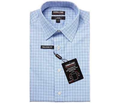 Kirkland Signature Tailored Fit Dress Shirt Light Blue Plaid Non-Iron Big & Tall