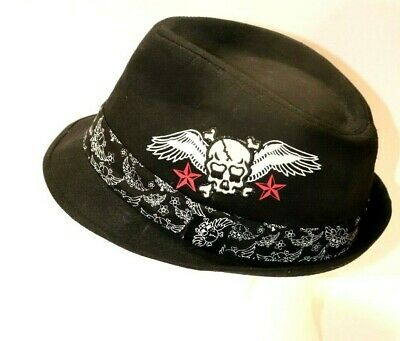 Embroidered Black Fedora with Skull Wings and Red Stars - Size Large 22.5 - Red And Black Fedora Hat