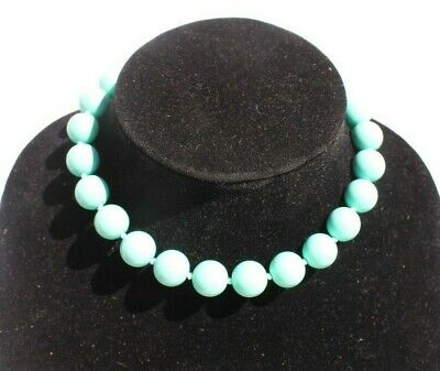 60s -70s Jewelry – Necklaces, Earrings, Rings, Bracelets Vintage 1960s Teal Large Ball Beaded Cocktail Costume Choker Necklace $12.50 AT vintagedancer.com
