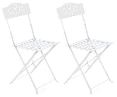 Set 2 Sedie Pieghevoli da Giardino 42x48x83 cm in Ferro Bistrò Bianche