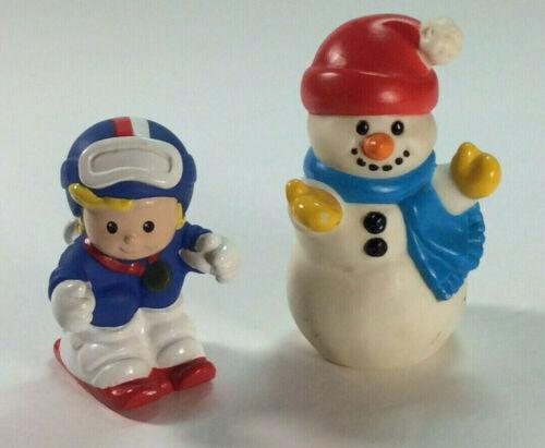 Fisher Price Little People 1998 Snowman WINTER wonderland ski set/lot rare Xmas