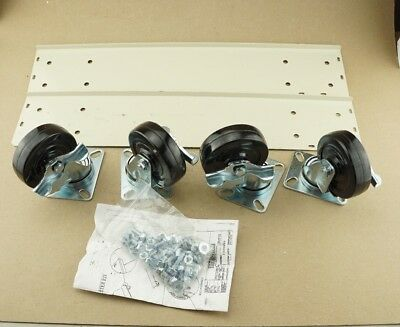 New Hallowell Cabinet Caster Kit Parchment Locking 800 24 Deep Ships Free