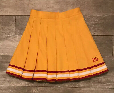 Cheerleader Danz Team Yellow Gold Red White Cheer Skirt Halloween Costume Sz 24