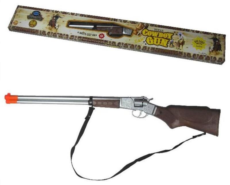 DIECAST 27 INCH OLD WILD WEST TOY LONG BARREL PLAY RIFLE western cap gun 8 shot