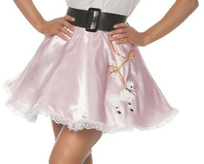 Pink Satin Mini Poodle Womens Adult Costume 50S Dancer Skirt](50s Womens Costumes)