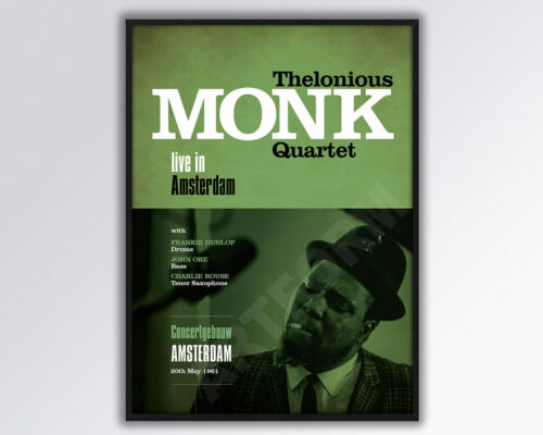 THELONIOUS MONK QUARTET Live in Amsterdam Reimagined Poster A3 size.