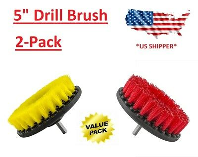 (2-Pack) 5 inch drill brush Heavy & Medium scrub combo car wall tile clean