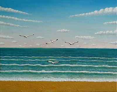 Seagulls and sea original acrylic painting on canvas birds trees sky seaside