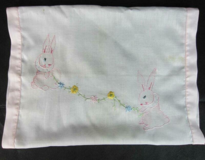 *True Vintage Baby Pillow Sleeve Case Hand Embroidery Silk Thread Rabbits