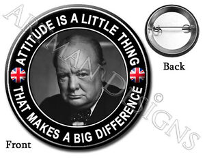 Winston CHURCHILL British WW2 Prime Minister Famous Quote 37mm Button Pin Badge