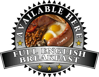 Full English Breakfast Sold Here Sticker Black - Catering Sign Window Cafe Van