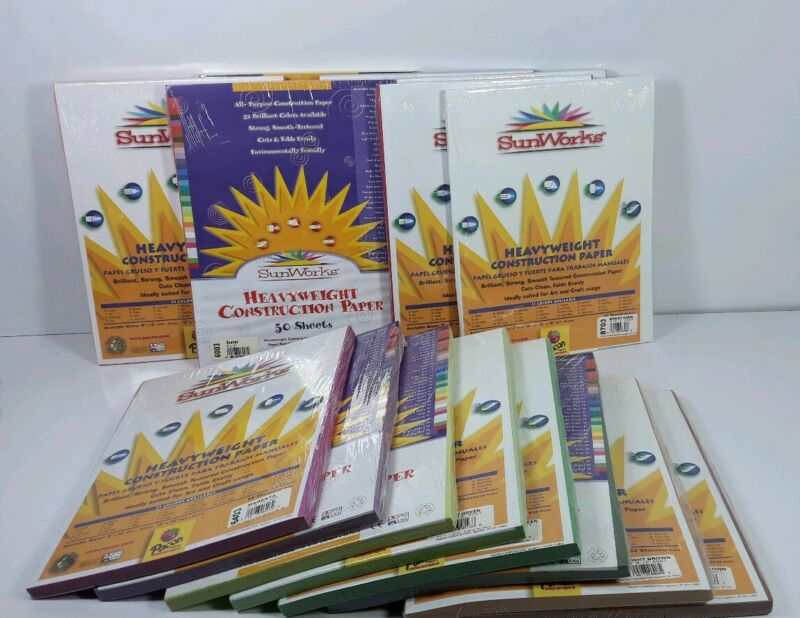 "15 Packs SunWorks Heavyweight 9""X12"" Construction Paper 50 Ct Multi-Color Sealed"
