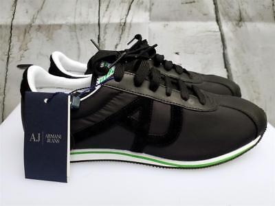 Giorgio Armani Jeans AJ Mens Black Runner Shoes Mesh Leather City Fashion Sneake