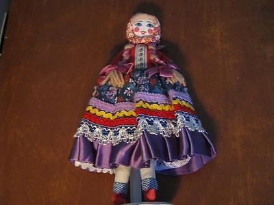 "Vintage Russian Maiden 12"" Folk Art Original Cloth Doll Original Great Outfit"