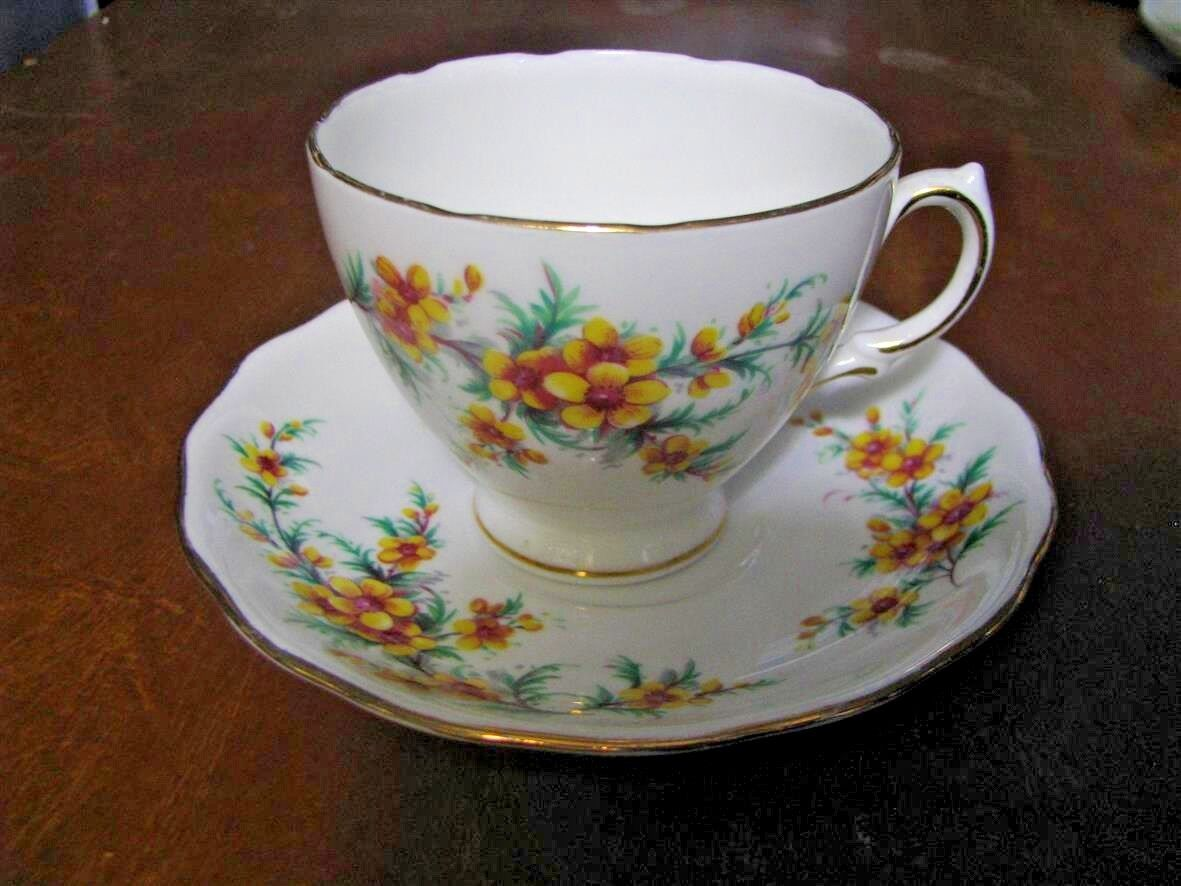 Royal Vale Fine Bone China England Tea Cup Saucer - Yellow Flowers Clearance - $5.99