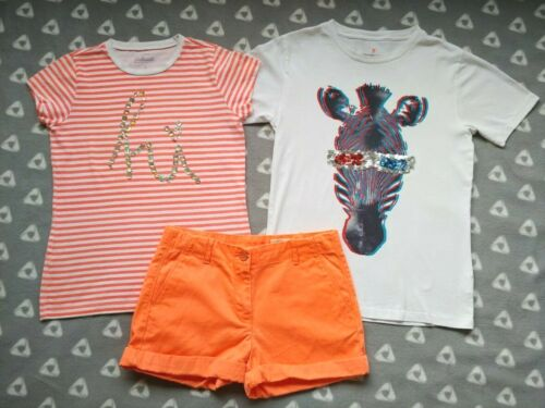 Crewcuts Lot Of 3 Girls Size 12 Neon Orange Chino Shorts Zebra Striped T Shirt