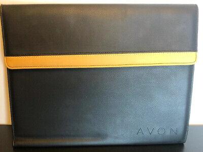 Avon Logo Portfolio Organizer Black Tan Pre-owned