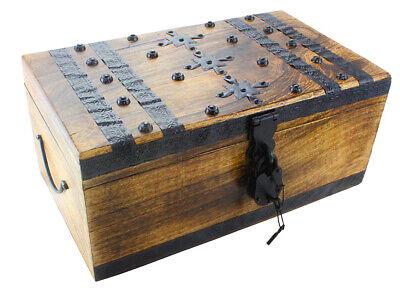 Wood Treasure Chest Storage Trunk 17 x 10 x 8 Decorative Box Rustic