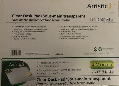 Artistic 12 X 17 Eco-clear Frosted Desk Pad With Exclusive Microban Antimic...