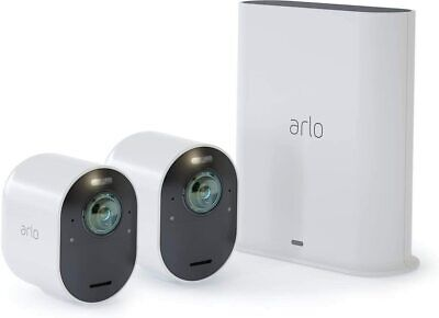 Arlo Pro 3 Smart Security System with Two 2K HDR Cameras, White.