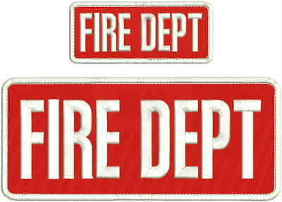 FIRE DEPT EMBROIDERY PATCH 4X10 & 2X5 HOOK ON BACK  RED/WHITE ()