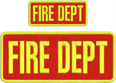 FIRE DEPT EMBROIDERY PATCH 4X10 & 2X5 HOOK ON BACK  RED/YELLOW ()