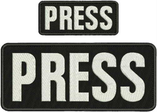 PRESS EMBROIDERY PATCH 4X10 AND 2X5 HOOK ON BACK BLK/white