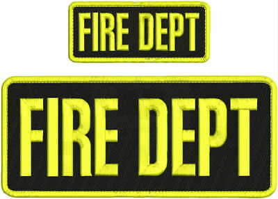 FIRE DEPT EMBROIDERY PATCH 4X10 & 2X5 HOOK ON BACK  BLK/YELLOW ()
