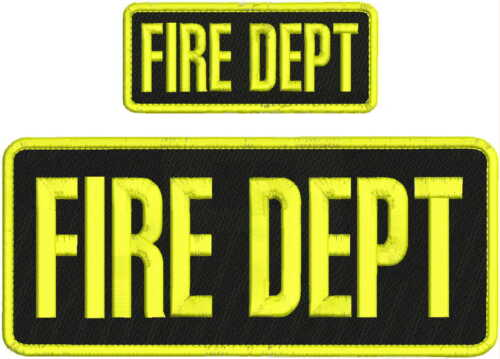 FIRE DEPT EMBROIDERY PATCH 4X10 & 2X5 HOOK ON BACK  BLK/YELLOW