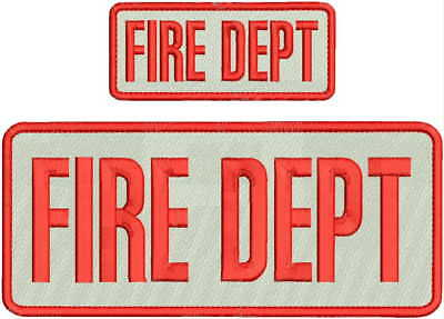 FIRE DEPT EMBROIDERY PATCH 4X10 & 2X5 HOOK ON BACK  WHITE/RED ()