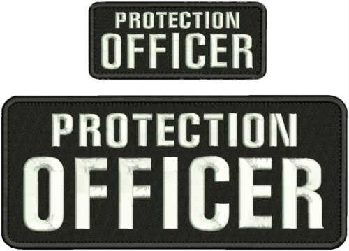 PROTECTION OFFICER EMBROIDERY PATCH 4X10 AND 2X5 HOOK ON BACK BLK/white