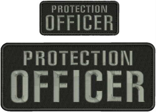 PROTECTION OFFICER EMBROIDERY PATCH 4X10 AND 2X5 HOOK ON BACK BLK/GRAY