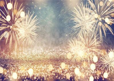 New Year Eve Vintage Gold Fireworks 7X5FT Vinyl Studio Backdrop Photo Background