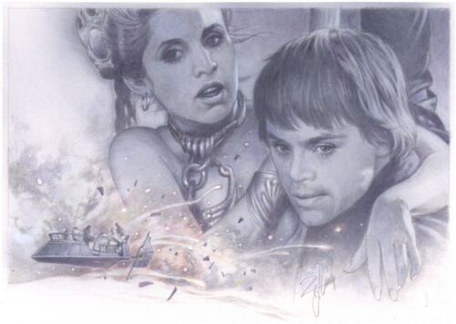A Tsuneo Sanda Signed Original Luke & Slave Leia Art ~ Star Wars Celebration VII
