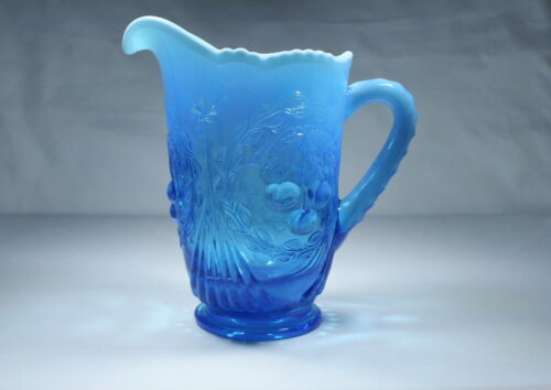 """HTF FENTON FOR L.G. WRIGHT  BLUE OPALESCENT CHERRY WREATH 8"""" PITCHER-USA"""
