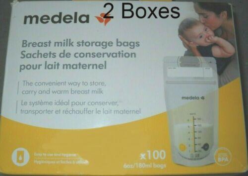 200 Medela Breast Milk Storage Bags 6 oz (2 Boxes of 100 Bags per Box)
