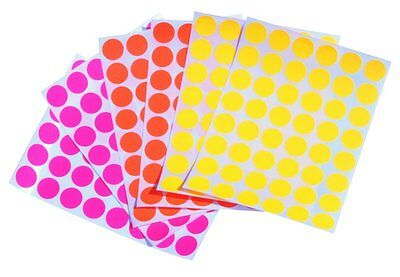 Neon Assorted Colored Coding Dots Labels 34 Inch Circle Fluorescent Stickers