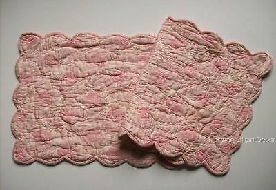 Pink and Cream Quilted Cotton Voile Table Runner Choice of 3 Sizes