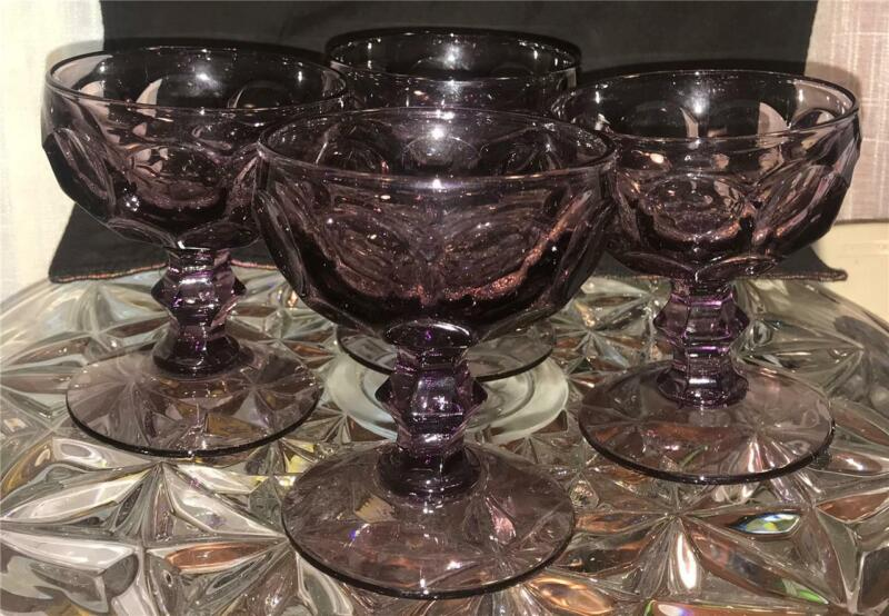 4 HEISEY Provincial By Imperial Glass Ohio Amethyst Champagne Sherbets