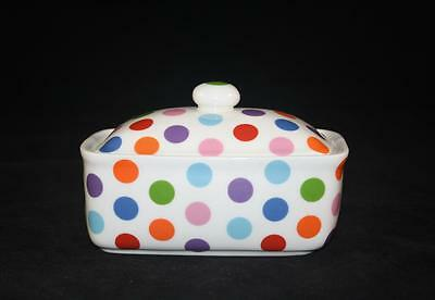 FINE BONE CHINA BUTTER DISH POLKA DOT COLOURED HAND DECORATED STOKE ON TRENT NEW